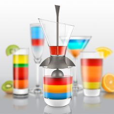 Cocktail Layering Tool The Rainbow Cocktail Layering Tool prevents ingredients of different densities from mixing, for ... more