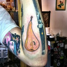 #pear #peartattoo #fruittattoo #tattoo #tattoos #zoebeantattoo