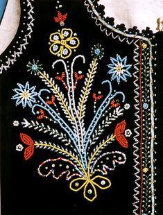 vest from Podegrodzie Poland Polish Embroidery, Beaded Embroidery, Hand Embroidery, Embroidery Designs, Folk Costume, Costumes, Leather Vest, My Heritage, Doll Patterns