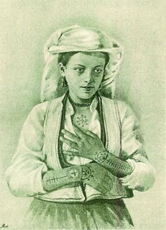 Early Bosnian Catholic women with tattoos on arms and chest: Tattoo History - Images of Christian Tattoos - History of Religious Tattoos and Tattooing Worldwide Tribal Tattoos, Hand Tattoos, Ethnic Tattoo, Sleeve Tattoos, Croatian Tattoo, Catholic Tattoos, Tattoo Museum, Christian Tattoos, History Images