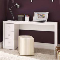 Conjunto Home Office com Escrivaninha, 2 Estantes e Nichos Branco - Caaza | Lojas KD