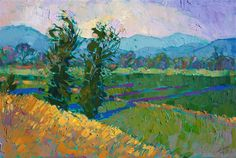 Shadows in the Green, modern expressionist oil painting by Erin Hanson