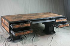 Vintage Industrial Wooden Desk with Drawers
