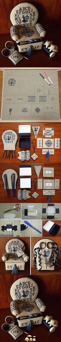 Embroidering and sewing together a desk organizer set, cleverly disguised as tiny furniture.
