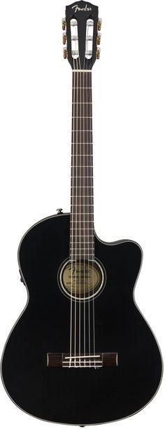 Fender Nylon-String Acoustic Guitar in Black - Andertons Music Co. Fender Nylon-String Acoustic Guitar in Black Fender Guitar Amps, Stratocaster Guitar, Acoustic Guitars, Best Acoustic Guitar, Fender Bass, Cheap Guitars, Guitars For Sale, Fender Jaguar, Fender Custom Shop