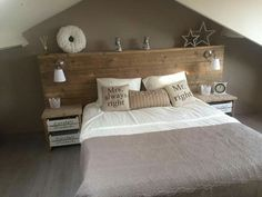 Homemade scaffolding wooden bed rnrnSource by Home Decor Bedroom, Bedroom Wall, Master Bedroom, Homemade Beds, Trendy Bedroom, New Room, Home And Living, Headboard Ideas, Headboards