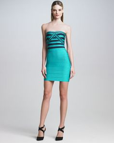 Contrast-Bodice Bandage Dress by Herve Leger at Neiman Marcus.