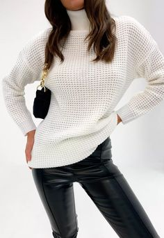 Petite White Roll Neck Sweater | Missguided Girly Outfits, Cute Casual Outfits, Pretty Outfits, Fashion Outfits, Fashion Clothes, Long Jumpers, Roll Neck Jumpers, Petite Sweaters, Sweaters For Women