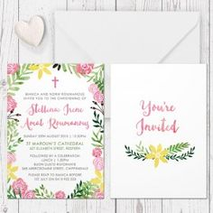 pink floral watercolour girl baptism invitation christening invitation garden country party double sided