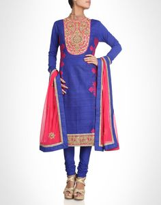Raw silk suit with zardozi work. Available in more colours. Shop Now: www.kimaya.in
