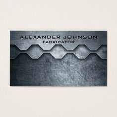 Cool Masculine Metallic Look Mechanical Fabricator Business Card Businesscard Loyaltycard
