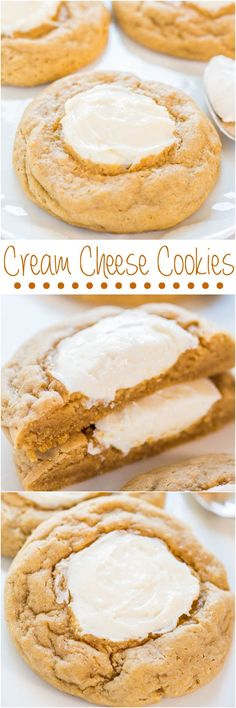 Cream Cheese Cookies - Big, soft, buttery cookies with sweet and tangy cream cheese in the middle!!