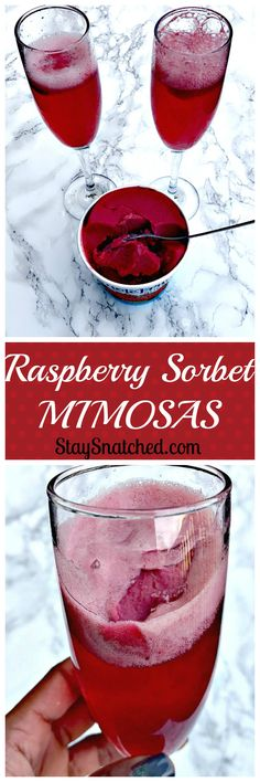 delicious champagne filled mimosas with raspberry sorbet perfect for holidays, Christmas, New Years, brunch, or any occasion Fancy Drinks, Summer Drinks, Cocktail Drinks, Cocktails, Cocktail Recipes, Drinks Alcohol Recipes, Non Alcoholic Drinks, Beverages, Drink Recipes