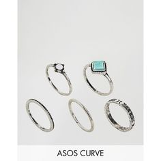 ASOS CURVE Pack of 5 Turquoise Etched Stone Rings ($13) ❤ liked on Polyvore featuring jewelry, rings, plus size, silver, party jewelry, stone jewellery, turquoise rings, polished stone jewelry and stone ring