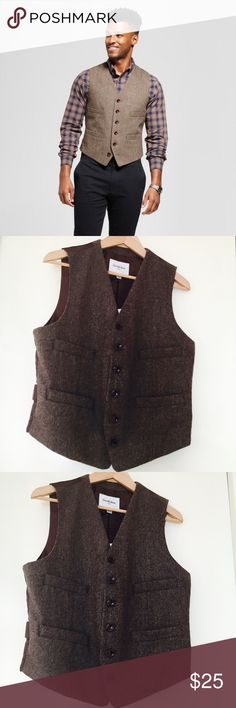Men's Tailored Herringbone Vest NWT Goodfellow & Co men's tailored vest, or waistcoat, this snappy little number goes with casual or dress slacks making your man or youth look pretty swaggy. Goodfellow & Co. Suits & Blazers Vests