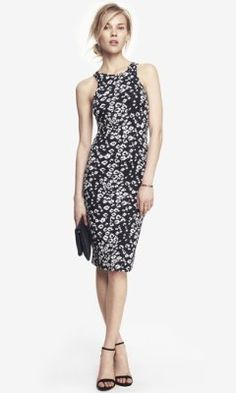 LEOPARD PRINT MIDI SHEATH DRESS from EXPRESS