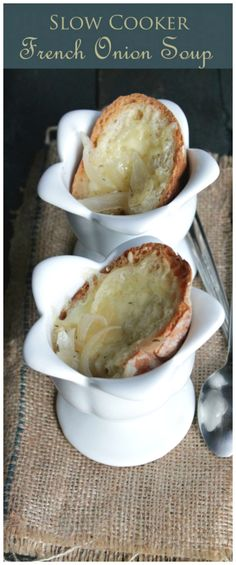 Enjoy this hearty Crock Pot French Onion Soup served with French bread and topped with Grueyere Cheese.