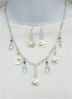 Sanddollar pearl necklace on sterling chain,              beach jewelry, freshwater pearls, ocean necklace, shell jewelry, silver and blue   SOLD