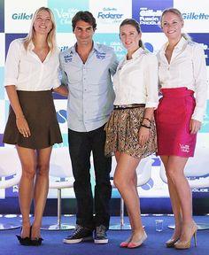 Maria Sharapova, Roger Federer, Victoria Azarenka e Caroline Wozniacki promovem jogos amistosos em SP