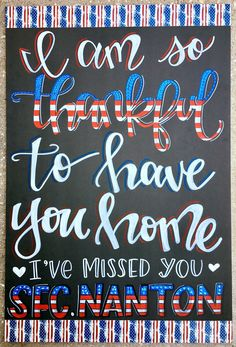 Military Homecoming Sign / welcome home / chalkboa Marine Homecoming, Military Homecoming Signs, Homecoming Posters, Military Signs, Homecoming Pictures, Military Wife, Homecoming Dresses, Welcome Home Posters, Welcome Home Banners