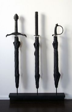Fight the Rain with these cool Samurai Sword-Handle Umbrella designed by Bruce and Stephanie Tharp ofMaterious.