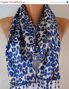 Leopard  Women  Shawl Scarf -  Cowl with Lace - Blue. $17.10, via Etsy.