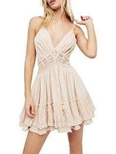 114829bf1102 Vivimos Women Summer Ruffles V Neck Backless Beach Short Dresses from top  store.Vivimos Women Summer Ruffles V Neck Backless Beach Short Dresses