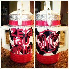 Zeta Tau Alpha ZTA monogrammed chevron water jug