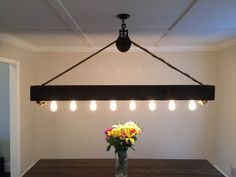 6 ft Rustic Beam Edison Bulb Chandelier With Vintage Barn Pulley Edison Bulb Chandelier, Diy Chandelier, Antique Lighting, Rustic Lighting, Lighting Ideas, Dining Room Colors, Pipe Lighting, All Of The Lights, Billiard Room