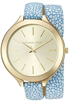 Michael Kors Women's Slim Runway Pink Watch A slim, wraparound leather band adds a unique touch to this Michael Kors watch. Slim markers detail the dial. Adjustable length and buckle closure. Bijoux Michael Kors, Michael Kors Schmuck, Michael Kors Watch, Pink Watch, Gold Watch, Wrap Watches, Women's Watches, Jewelry Watches, Trendy Watches