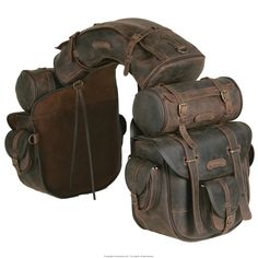 Large saddle bag... Complete, unique saddle bag, ideal for trekking riders and long riders. The saddle consists of a saddle bag with six pockets and quick release, long inner ties for a more secure closure, one cantle bag and two round saddle bags which can be detached and used separately. Bordered and edged with double stitching. It is water resistant as water-repellent leather is used in its construction, the accessories are top quality and customised. Dimensions: (bag) ca. 30x 30 x 15…