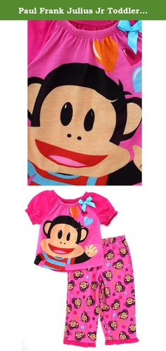 "Paul Frank Julius Jr Toddler Pink Poly Pajamas (2T). ""The best inventions are the ones that help your friends!"" Show off your creative side in this fun Nick Jr. Paul Frank Julius Jr toddler baby girls 2 piece polyester pajamas set! Julius Junior pj features bright colors, short sleeves, swooped cropped neckline, graphics of the adorable monkey friend, Julius Jr, and matching pj bottoms. A perfect selection for any Nickelodeon Junior Paul Frank Julius Junior fan!."