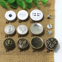 Click Our Letters Rivets Gallery to See More Style and Color . Jeans Button, Make Color, 9 And 10, Shake, Giant Tree, Buttons, Personalized Items, Mixed Media, Steampunk Crafts