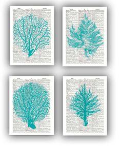 4 Ocean Blue  prints Sea fan sea grass coral nautical by PrintLand, $28.50