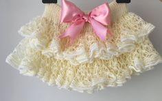 Baby skirt First birthday outfit Cream tutu by KnittingAndYarns