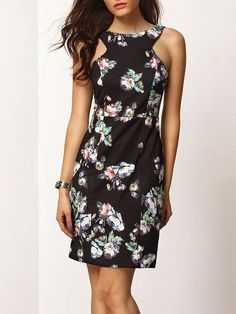 Black Sleeveless Backless Floral Sheath Dress