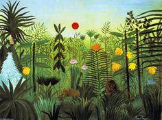 """""""Paysage exotique avec Lion et lionne en Afrique"""", huile sur toile de Henri Rousseau (1844-1910, France)"""