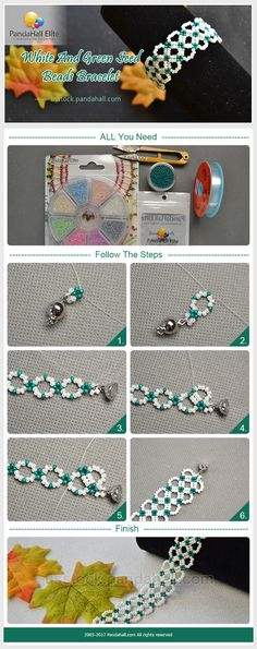 Pandahall Elite DIY white and green seed beads bracelet