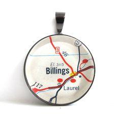 Road Map Pendant of Billings Montana from by CarpeDiemHandmade, $10.00