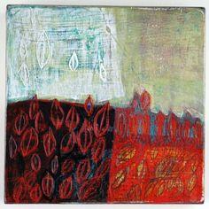 """Leaf Pattern  Barbara Gilhooly (c) 2011  6 x 6""""  acrylic on birch"""