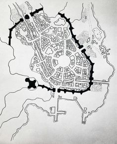 walled city town water docks map cartography | Create your own roleplaying game material w/ RPG Bard: www.rpgbard.com | Writing inspiration for Dungeons and Dragons DND D&D Pathfinder PFRPG Warhammer 40k Star Wars Shadowrun Call of Cthulhu Lord of the Rings LoTR + d20 fantasy science fiction scifi horror design | Not Trusty Sword art: click artwork for source