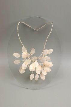 Botanical fine art Lunaria necklace. Linen statement floral fine art necklace. Spring wedding bijoux with pearl leaves.. $93.00, via Etsy.