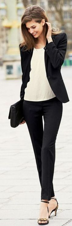 Work: black pants, black blazer, cream she'll, open toed strappy heel women clothes outfit style fashion