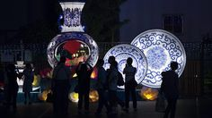 Lanterns in the shape of porcelain dishes are displayed in the Chinese city's Mid-Autumn Lantern Carnival