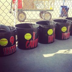 Softball Dugout Buckets These would be a life saver for face masks Gloves Batting gloves and drinks Baseball Buckets, Baseball Jerseys, Stuff To Buy