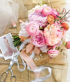 bouquet inspiration -  mini blush calla lily, gardenia, baby's breath, and variegated geranium. Bouquet: sandstone roses, blush peony, crystal blush calla lily, variegated geranium, baby's breath, gardenia, and vintage brooches wrapped in peach double-fold satin with pearls.
