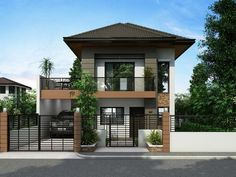 is a Two Story House Plan with 3 bedrooms, 2 baths and 1 garage.] is a Two Story House Plan with 3 bedrooms, 2 baths and 1 garage. Two Story House Design, 2 Storey House Design, Duplex House Design, Simple House Design, House Plans One Story, New House Plans, Modern House Design, House Design Plans, Modern Zen House