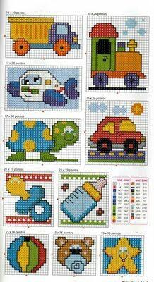 Punto de cruz bebes: camión, tortuga,chupa, balón.... …