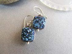 Electric Blue Druzy Earrings by Balsamroot Jewelrt