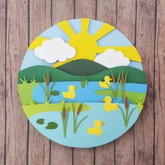 Four Little Ducks DIY Shadow Box Papercutting Template Layered Cut Your Own Printable PDF With Step-by-Step Tutorial Summer Crafts For Toddlers, Animal Crafts For Kids, Paper Crafts For Kids, Art For Kids, Paper Crafts Origami, Cardboard Crafts, Neli Quilling, Quilled Roses, Quilling Comb